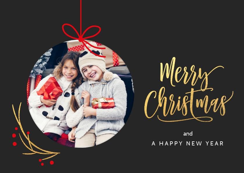 Kerstkaarten - Kerstkaart kerstbal foto kader donker grijs