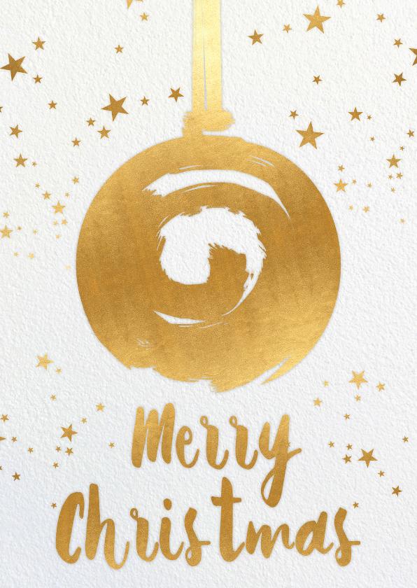 Kerstkaarten - Kerstkaart kerstbal goudgele kleur