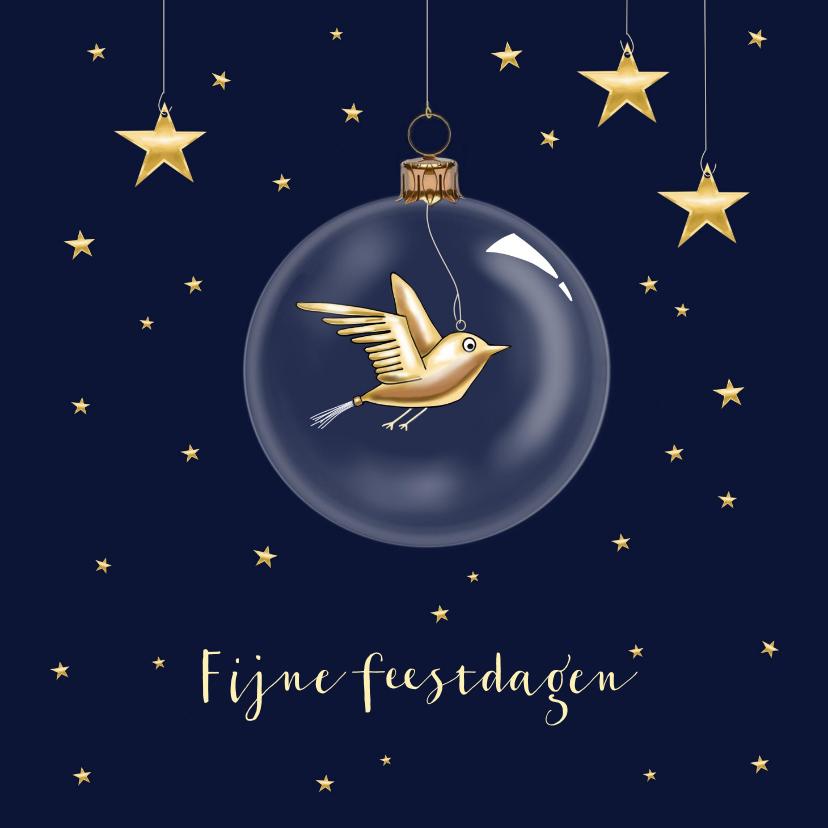 Kerstkaarten - Kerstkaart - kerstbal met gouden vogeltje