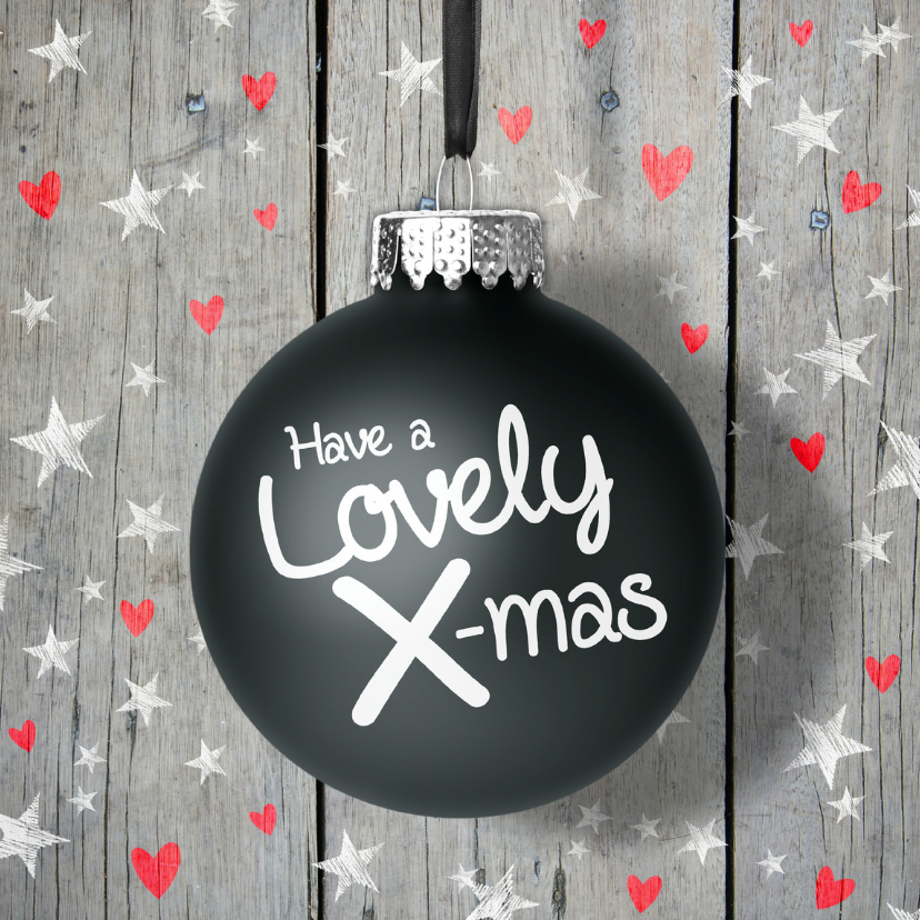 Kerstkaarten - Kerstkaart kerstbal ster en hart