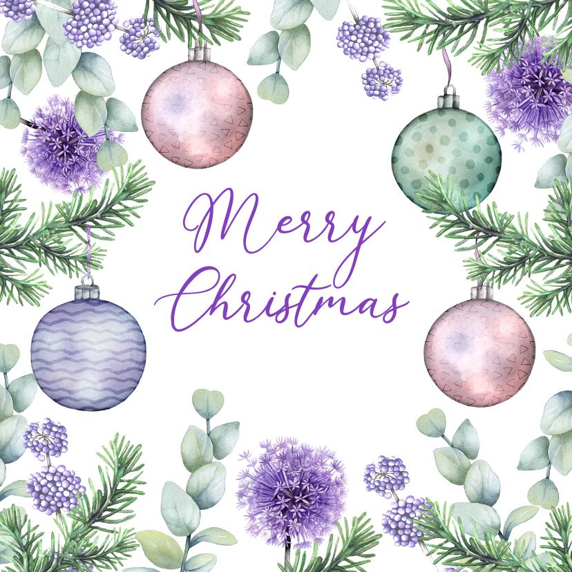 Kerstkaarten - Kerstkaart kerstballen botanische takjes