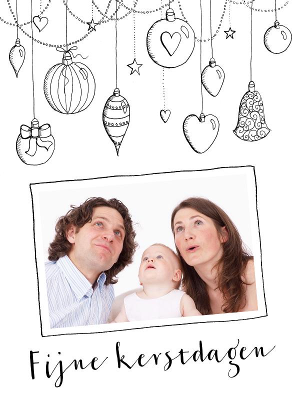 Kerstkaarten - Kerstkaart kerstballen & foto