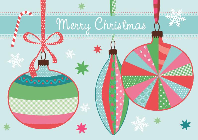 Kerstkaarten - Kerstkaart kerstballen printjes