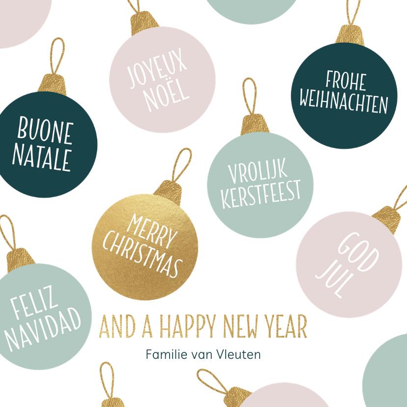 Kerstkaarten - Kerstkaart kerstballen talen goud pastel