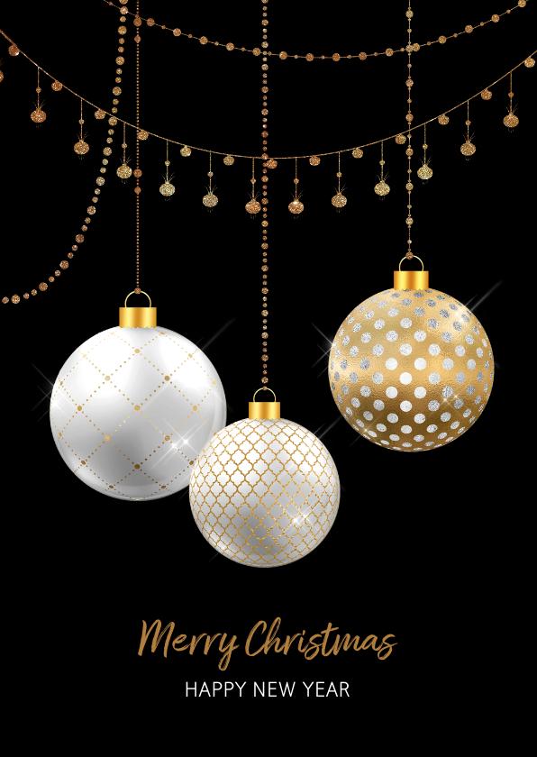 Kerstkaarten - Kerstkaart kerstballen wit met goud