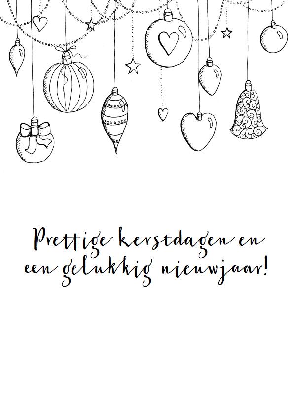 Kerstkaarten - Kerstkaart kerstballen zwart-wit