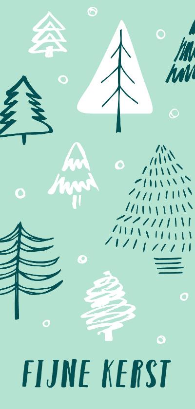 Kerstkaarten - Kerstkaart kerstbomen mint