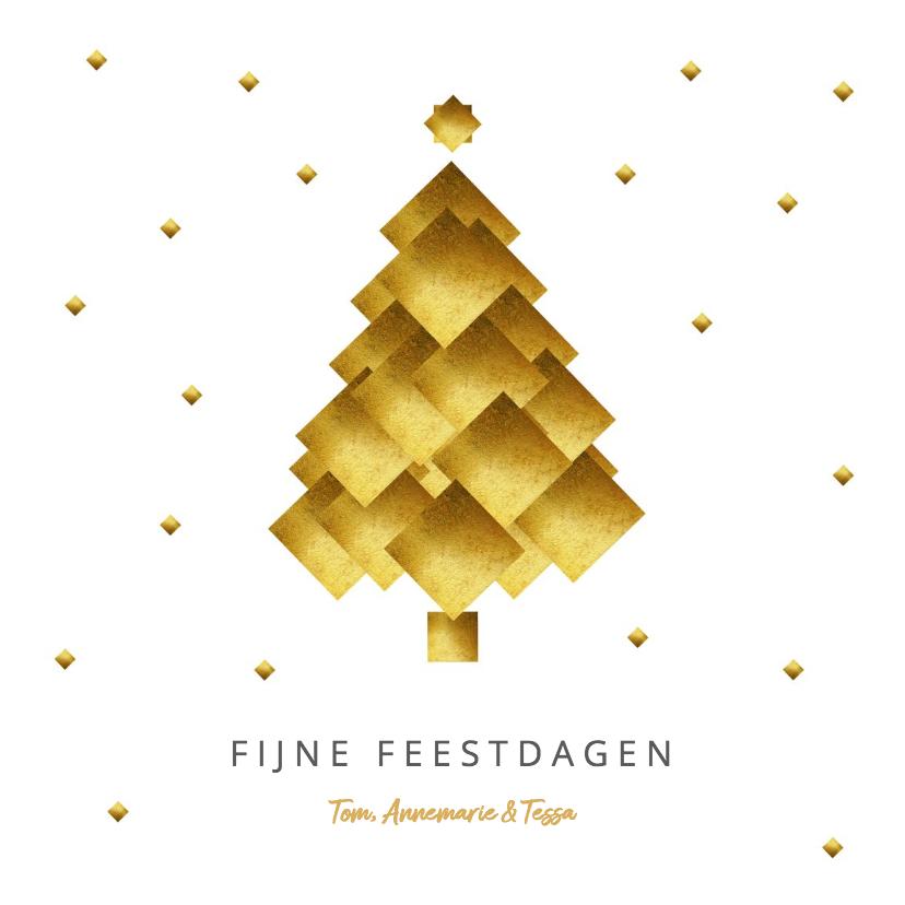 Kerstkaarten - Kerstkaart kerstboom goud blokken