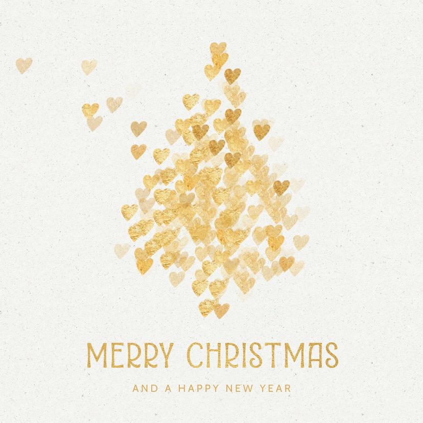 Kerstkaarten - Kerstkaart kerstboom gouden hartjes op wit