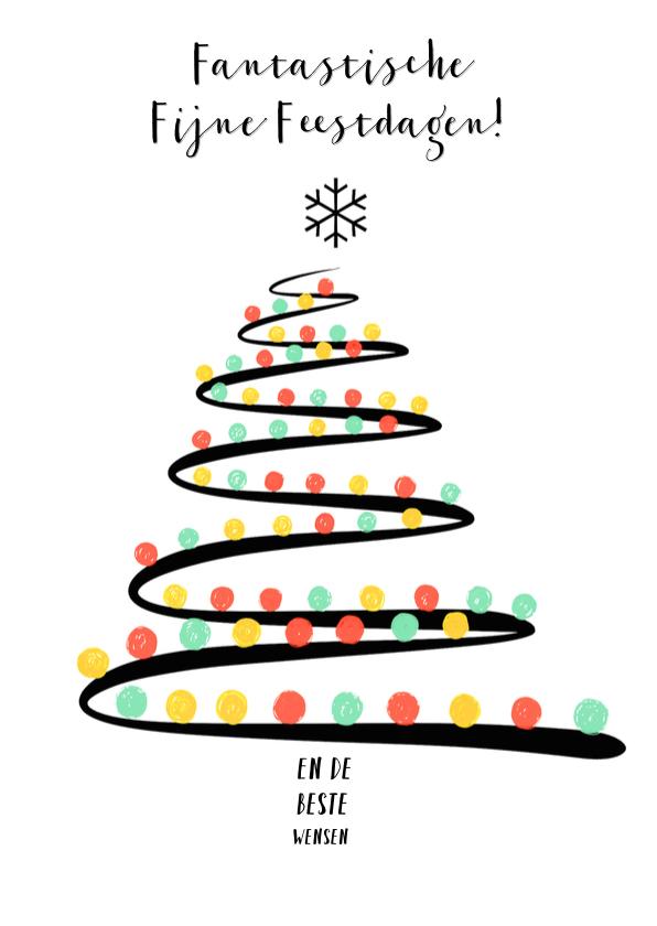 Kerstkaarten - Kerstkaart kerstboom kleur ballen