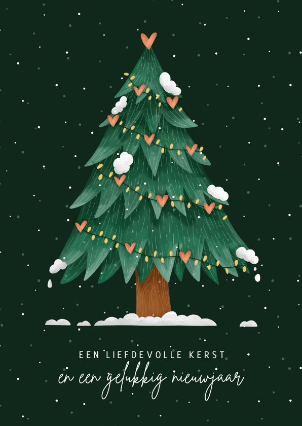Kerstkaarten - Kerstkaart kerstboom met hartjes liefdevolle kerst