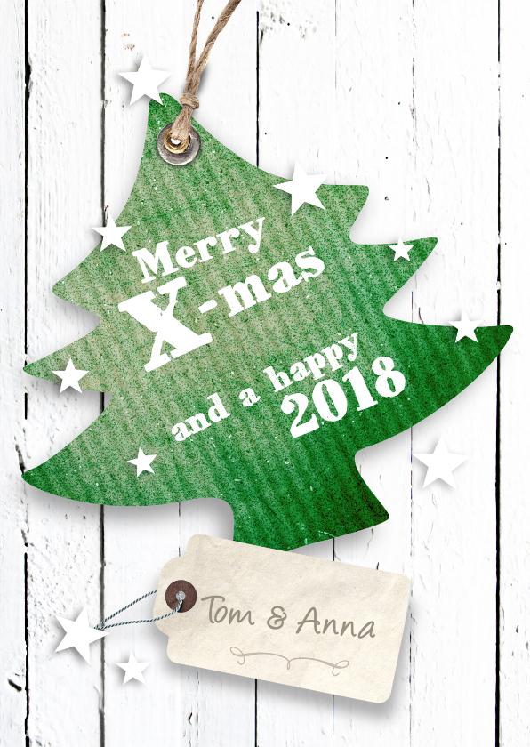 Kerstkaarten - Kerstkaart-Kerstboom met label