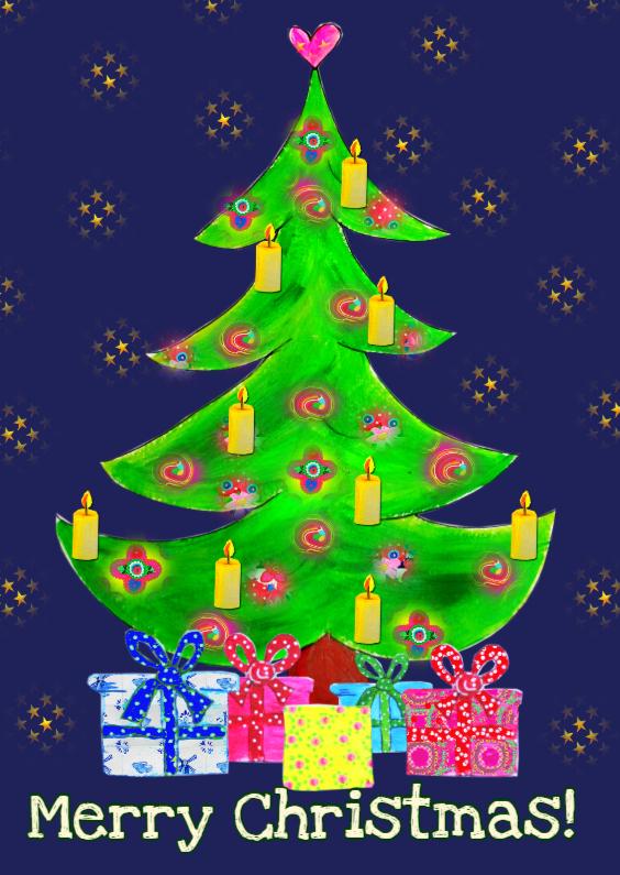 Kerstkaarten - Kerstkaart Kerstboom PA