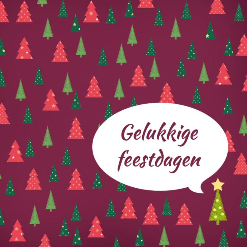 Kerstkaarten - Kerstkaart Kerstboom Roodpaars