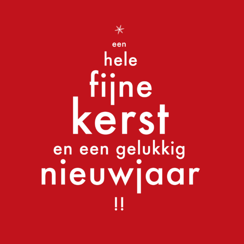 Kerstkaarten - kerstkaart kerstboom  tekst-pf
