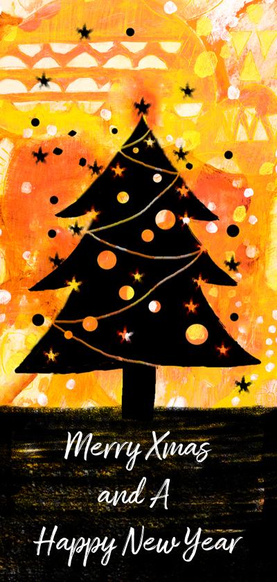 Kerstkaarten - kerstkaart kerstboom zwart geel