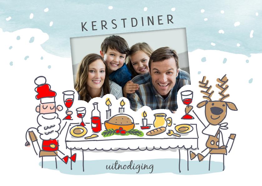 Kerstkaarten - Kerstkaart kerstdiner met kerstman en rendier aan tafel