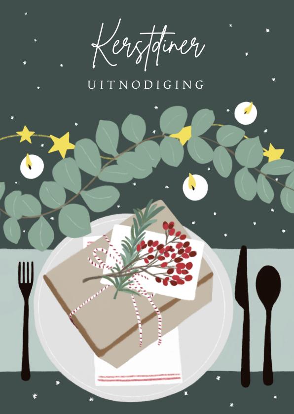 Kerstkaarten - Kerstkaart kerstdiner tafel met kerstversiering