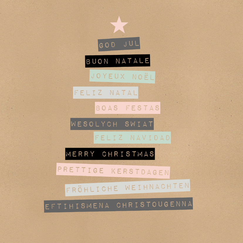 Kerstkaarten - Kerstkaart kerstfeest talen - BC