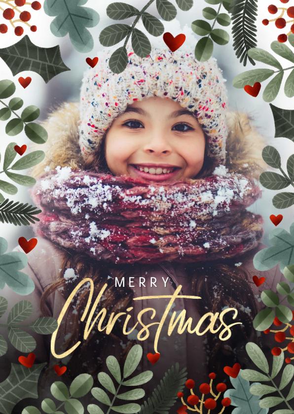 Kerstkaarten - Kerstkaart kerstkader, grote foto, hartjes 'Merry Christmas'