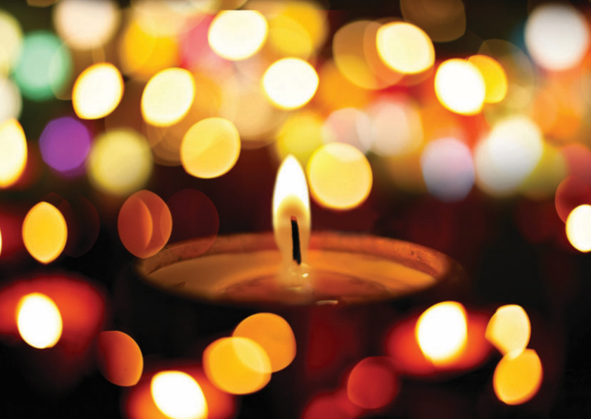 Kerstkaarten - Kerstkaart kerstlicht in kleuren