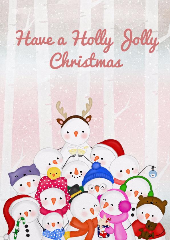 Kerstkaarten - Kerstkaart kerstmis Jolly Snowmen