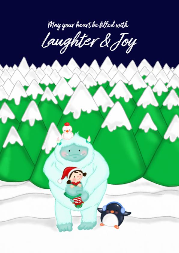 Kerstkaarten - Kerstkaart kerstmis lieve Yeti