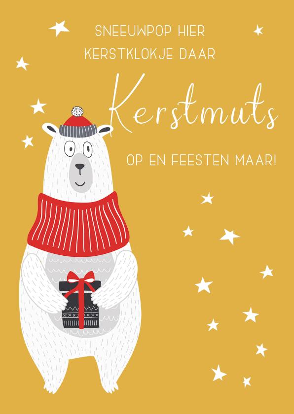 Kerstkaarten - Kerstkaart Kerstmuts op en feesten maar