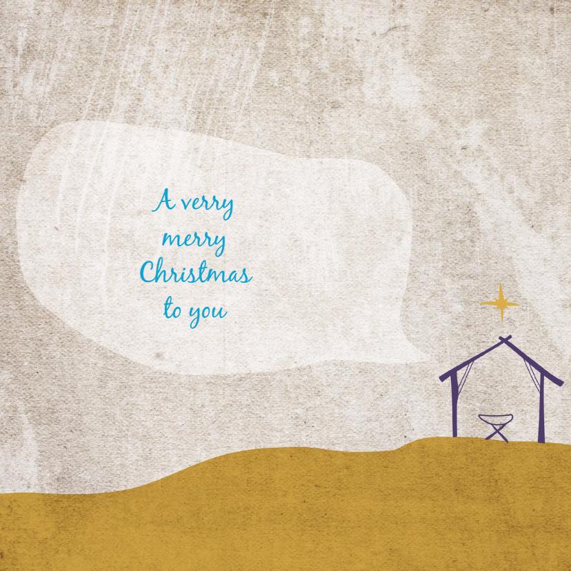 Kerstkaarten - Kerstkaart kerststal getekend