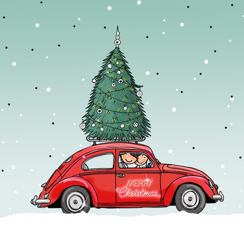 Kerstkaarten - Kerstkaart Kever rood