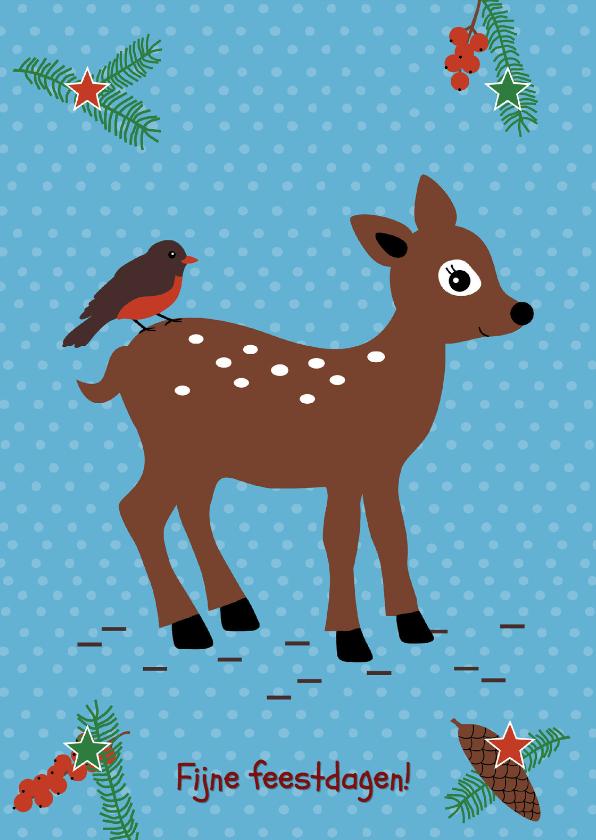 Kerstkaarten - Kerstkaart-Kind-Kerst Hertje-HK