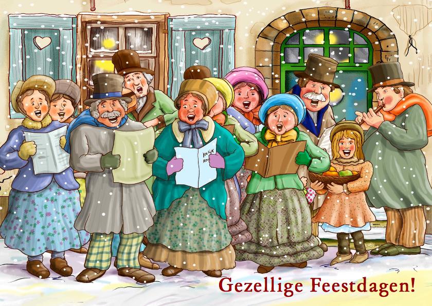 Kerstkaarten - Kerstkaart klassiek zangkoor in winterse omgeving