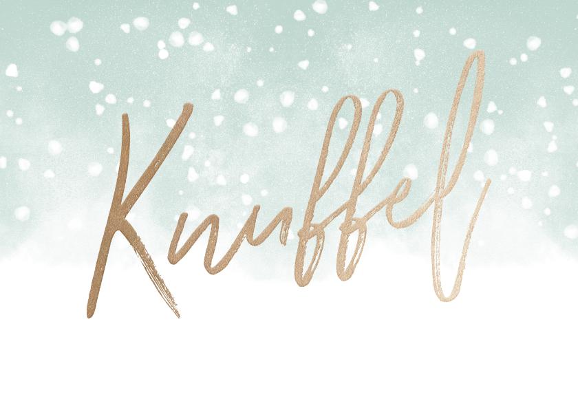Kerstkaarten - Kerstkaart Knuffel met waterverf en sneeuw