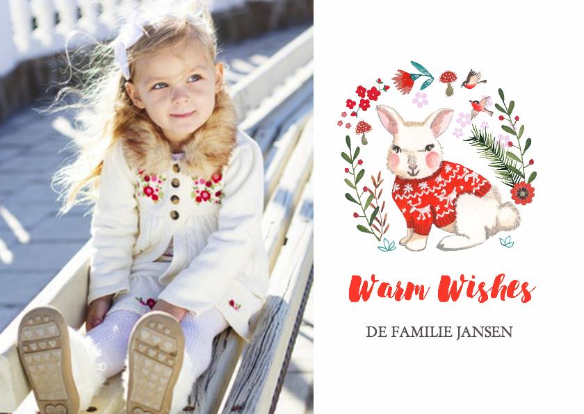 Kerstkaarten - Kerstkaart Konijntje Bloemen