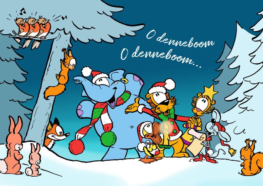 Kerstkaarten - Kerstkaart koor Loeki in de sneeuw