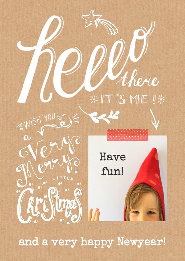 Kerstkaarten - Kerstkaart krijt handmade karton