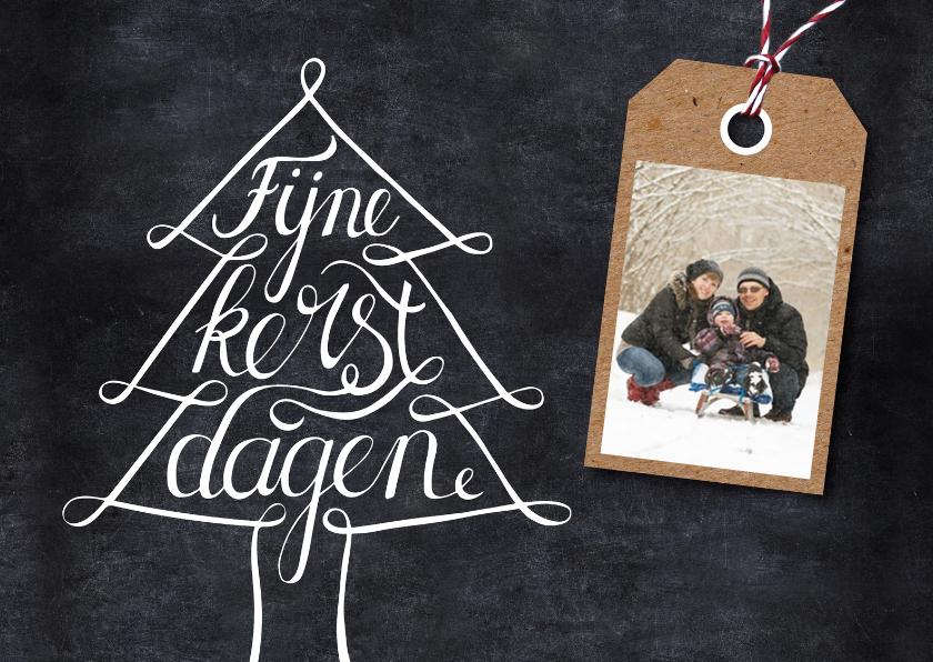 Kerstkaart krijtbord foto label  1