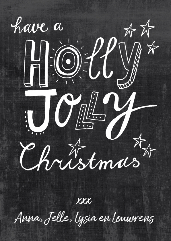 Kerstkaarten - Kerstkaart Krijtbord Holly jolly