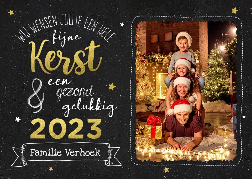 Kerstkaarten - Kerstkaart - Krijtbord met goudlook en foto
