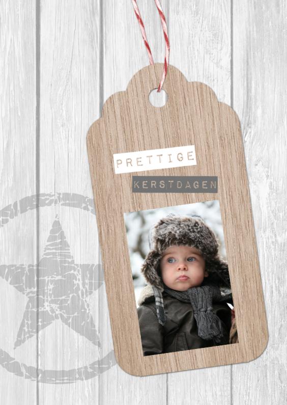 Kerstkaarten - Kerstkaart label hout - BC