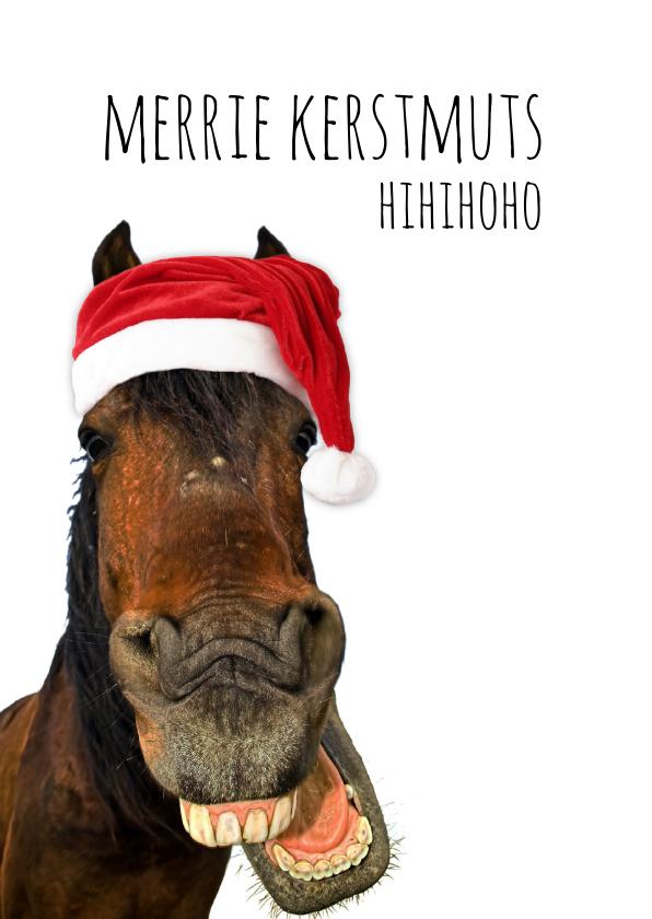 Kerstkaarten - Kerstkaart lachend paard met kerstmuts