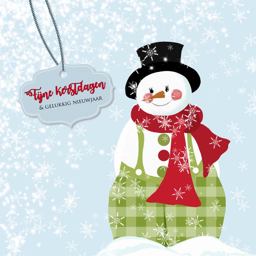 Kerstkaarten - Kerstkaart lachende sneeuwpop