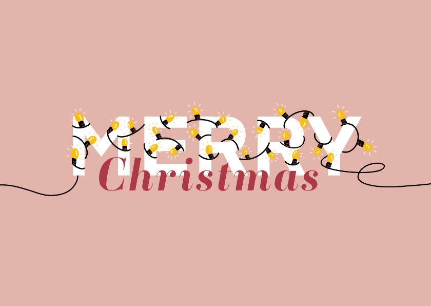 Kerstkaarten - Kerstkaart lampjes Merry Christmas