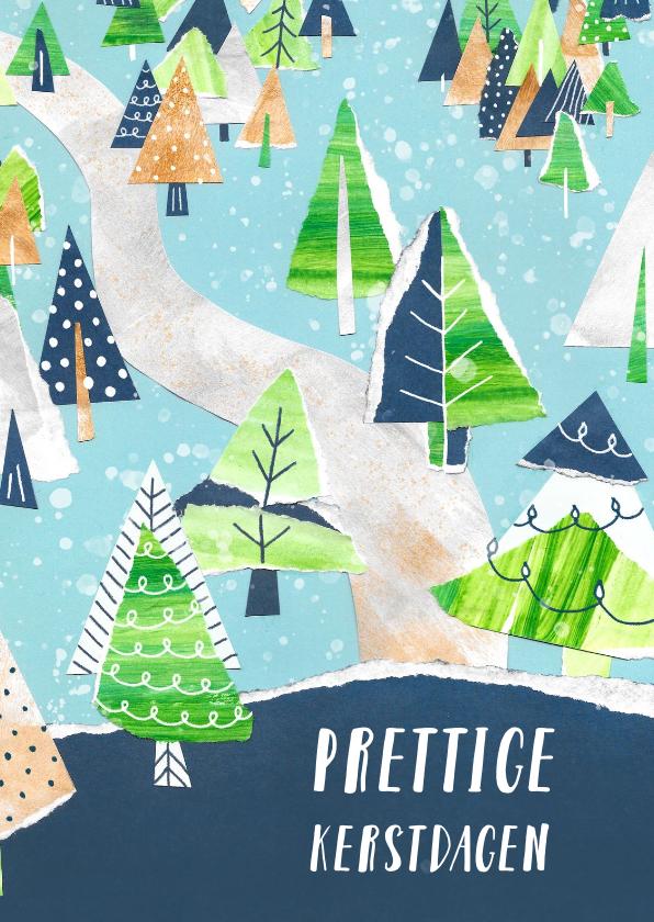 Kerstkaarten - Kerstkaart landschap kerstbomen
