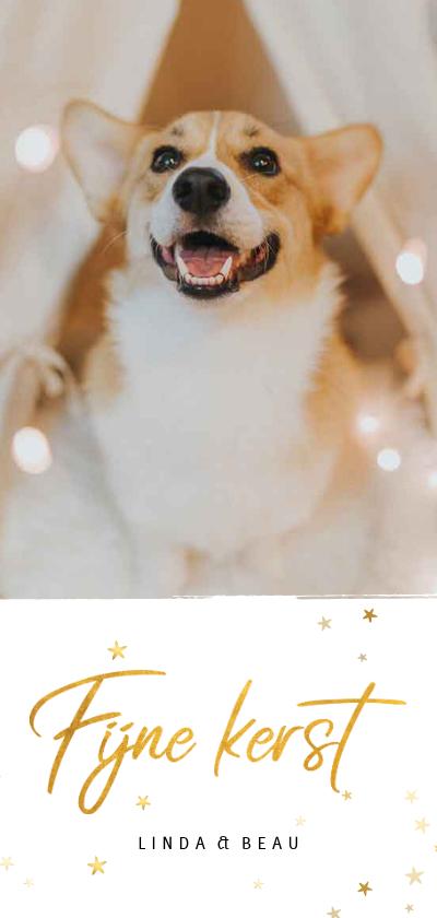 Kerstkaarten - Kerstkaart langwerpig fijne kerst gouden sterren