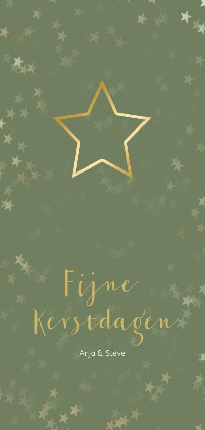 Kerstkaarten - Kerstkaart langwerpig groen met kerstster - Een gouden kerst