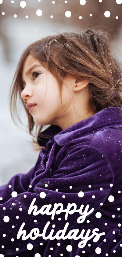 Kerstkaarten - Kerstkaart langwerpig happy holidays met confetti sneeuw