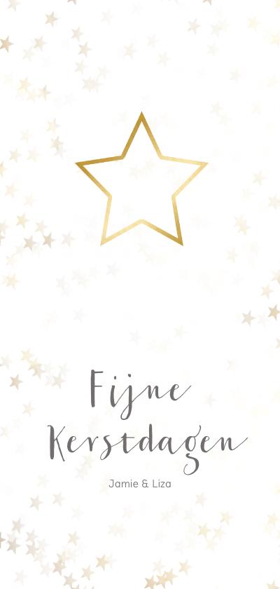 Kerstkaarten - Kerstkaart langwerpig kerstster van goud - Een gouden kerst