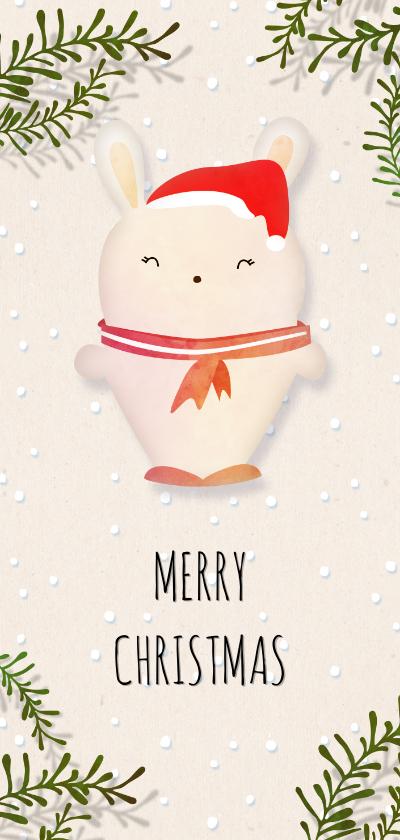 Kerstkaarten - Kerstkaart langwerpig met wit konijntje