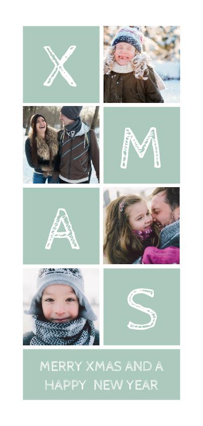 Kerstkaarten - Kerstkaart langwerpig XMAS met vakjes en foto's